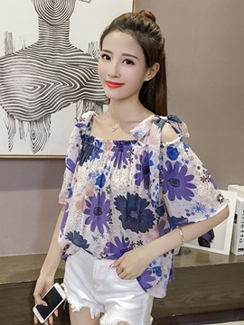 Cold Shoulder Chiffon Print Blouse