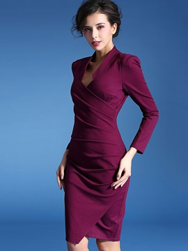 Vogue Solid Color Long Sleeve Bodycon Dress
