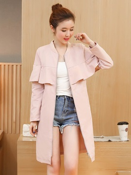 Plain Falbala Mid-Length Trench Coat