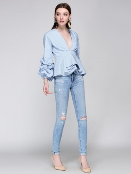 Plain V-Neck Ruched Sleeve Blouse