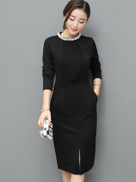 Chic Round Neck Long Sleeve Women's Bodycon Dress
