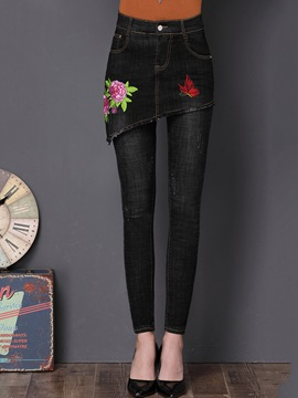 Slim Embroidery Faux Twinset Culotte Jeans