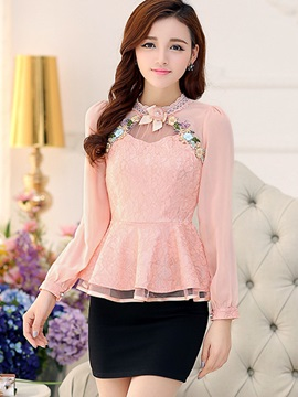 Lace Chiffon Patchwork Skirt Hem Blouse