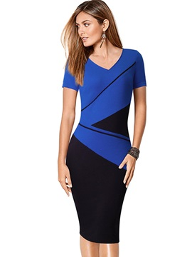 Chic Color Block Short Sleeve Women's Bodycon Dress