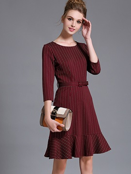 Simple Round Neck Long Sleeve Short Day Dress