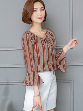 Slash Neck Stripe Bell Sleeve Blouse
