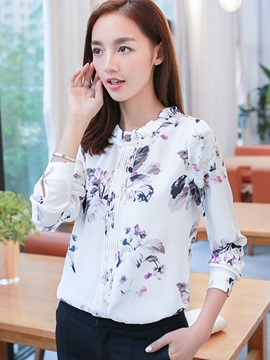 Flower Print Pleated Lace Up Blouse