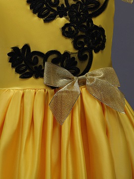Sleeveless Embroidery Pleated Bowknot Girl's Princess Dress