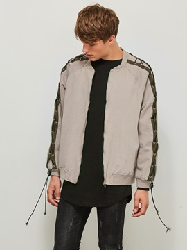 Stand Collar Color Block Loose Men's Jacket
