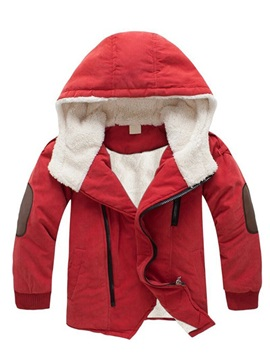Thick Hooded Zipper Boys' Cotton-Padded Jacket
