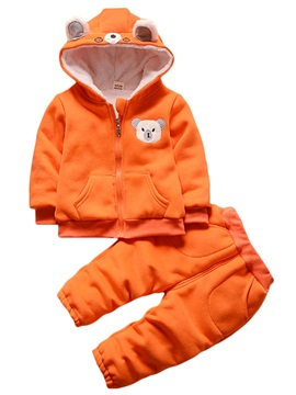 Unisex Thicken Warm Winter Zipper Hoodie And Pant Baby's Outfit