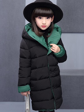 Plain Double-Breasted Thick Reversible Girl's Winter Jacket