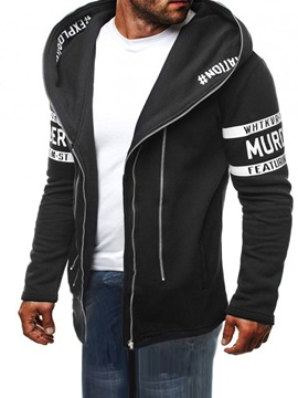 Tidebuy Hooded Zipper Letter Print Color Block Men's Hoodie