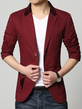 Notched Collar Two Button Cotton Men's Blazer