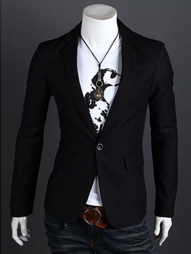 Plain One Button Men's Blazer