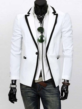 Men's Contrast Color Notched Collar One Button Blazer