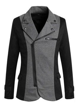 Golilla Nail Decorated Oblique Zipper Men's Color Block Roma Rib Blazer