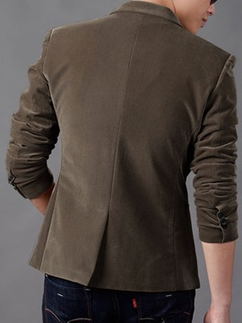 Men's Cordury Pockets Decorated Casual Plain Blazer