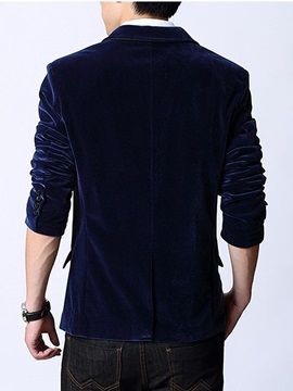 Panne Velvet Solid Color Notched Collar Men's Blazer