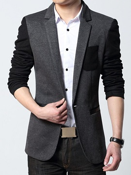 Patched Chest Pocket One Button Men's Casual Blazer