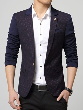 Jacquard One Button Color Block Men's Casual Blazer