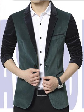 Color Block Notched Collar Corduroy Slim Fit Men's Blazer