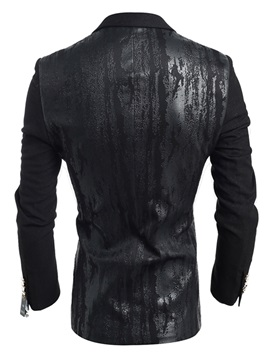 Notched Collar One Button Men's Patent Leather Blazer