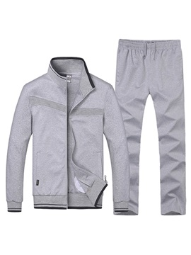 Stand Collar Zip Up Stripe Decorated Men's Sports Suit
