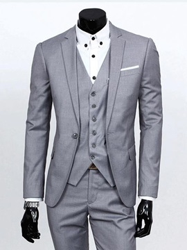 Notched Collar Solid Color Men's Three-piece Suit