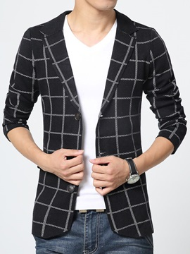 Middle Plaid Single-Breasted Men's Cotton Blend Blazer