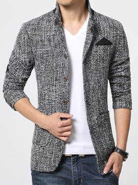 Slim Fit Single-Breasted Stand Collar Men's Blazer