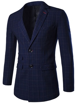 Middle Plaid Notched Collar Two Buttons Men's Blazer