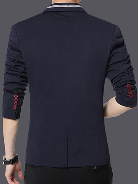 One Button Solid Color Slim Long Sleeve Men's Casual Blazer