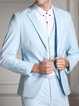 Solid Color Two Buttons Three Pieces Men's Suit