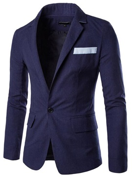 Faux Chest Pocket One Button Slim Fit Men's Blazer