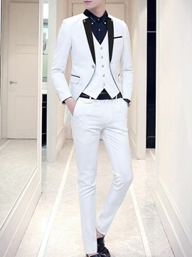 Color Block One Button Three Pieces Men's Suit