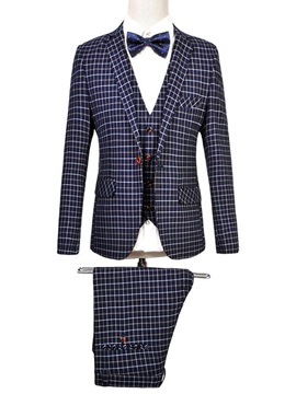 Plaid Lapel Men's Three Pieces Suit