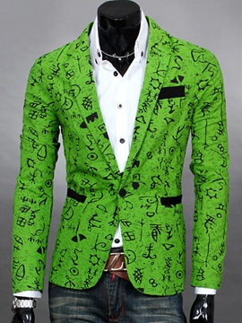 Men's One Button Floral Printed Casual Blazers