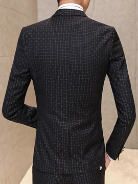 Plaid Slim Fit Men's Three Pieces Suit