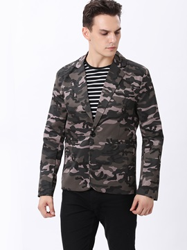 Camouflage One-Button Men's Lapel Blazer