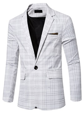Plaid One-Button Men's Causal Blazer