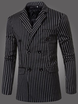 Vertical Stripe Double-Breasted Men's Casual Blazer