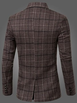 Chest Pocket Lapel Men's Plaid Dress Blazer
