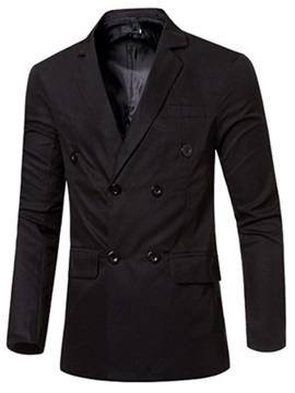 Double-Breasted Plain Slim Fit Men's Blazer