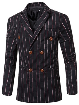 Vertical Stripe Double-Breasted Men's Lapel Blazer