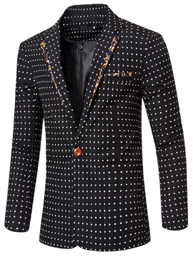 Polka Dots Floral Patch Men's Dress Blazer