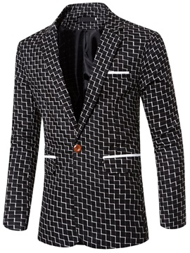 One-Button Check-Print Men's Blazer