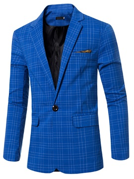 Plaid One-Button Notched Collar Men's Blazer