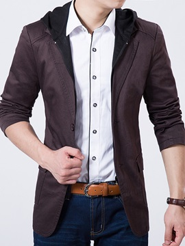 Solid Color Hooded Lapel Men's Slim Fit Blazer