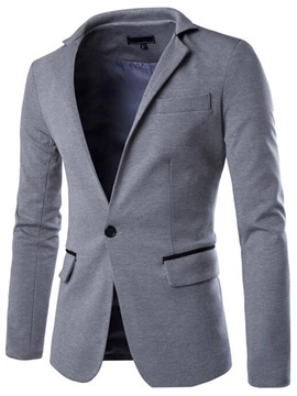 Lapel Casual Men's Blazer with Chest Pocket